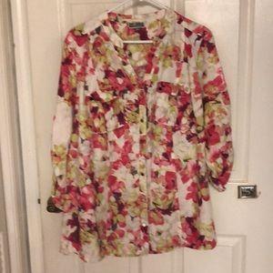 JM Collection Pink Floral Button-Up Blouse